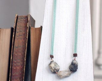 Raw Grey Tourmalinated Quartz Statement Necklace // Raw Semi-precious Stone Necklace