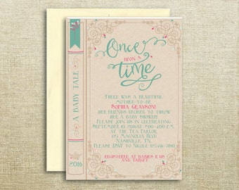 Book Once Upon A Time Printed/Printable Baby Shower Invitation