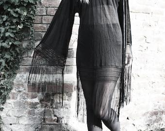 Handmade, unique bohemian bell sleeve tassel dress, size medium.