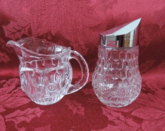 Crystal Sugar Bowl and Creamer Vintage