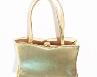 Vintage Gold Purse Harry Levine metallic gold handbag is signed HL USA
