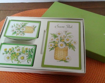 Daisy Playing Cards, Hallmark Bridge Set, Two Decks of 60s Cards with Daisies