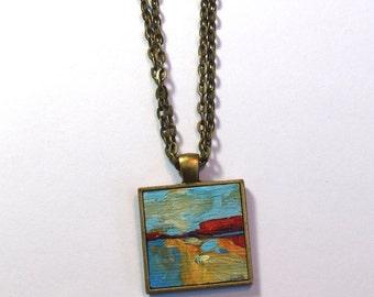 Art Necklace ~ Original Painting Pendant - Wearable Art - Colorful Necklace - Handpainted Pendant - Hand painted - Abstract Landscape