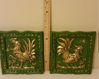 vintage ceramic rooster wall plaques - painted green w/ gold highlights - chalkware pictures tiles decor home kitchen chicken retro 1970 era