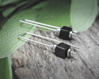 Sterling Silver Earrings, Onyx Earrings, Black Earrings, Geometric Earrings, Black Sterling Silver Earrings,  Sterling Threader,Gift For Her