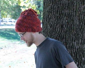 Orange Knot Knitted Hat