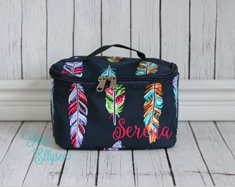 Feather print Cosmetic Bag - Personalized or Monogrammed