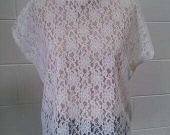 White lace kimono sleeve top