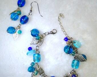 Blue glass beaded bracelet and earrings