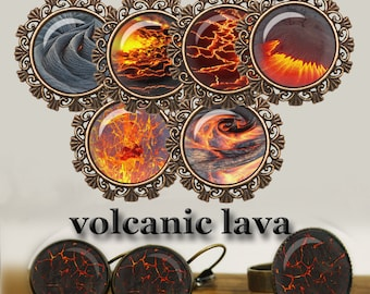 "Volcanic lava Digital Collage Sheet for Glass Dome Pendants Cabochons Magnets Digital Images for Jewelry Lava Images 1.5"" 1"" 25mm"