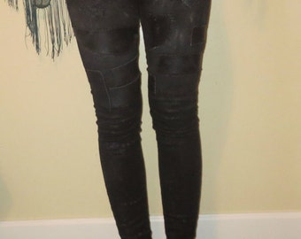 Black On Black Leather Patched Snakeskin Patterned Metal Punk Crust Patch Jeans Pants Size 1