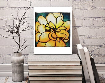 Yellow Rose Print - floral wall hanging - acrylic flower print - abstract orange rose art - 8 x 10 inch - Signed by Artist Kathy Lycka