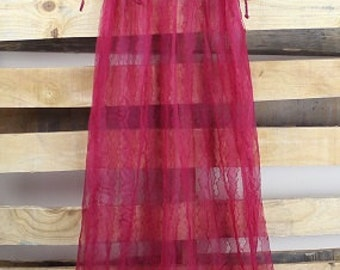 Cranberry  Lace Vintage Negligee
