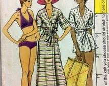 70s swimwear Vogue 8883 vintage sewing pattern Bust 32.5 Waist 25 Hip 34.5 bikini (uncut) & cover up robe in 2 lengths Retro 70s resort wear