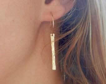 Hammered Bar Earrings, Hammered Jewelry, Boho Look, Minimalist, Delicate, Dainty