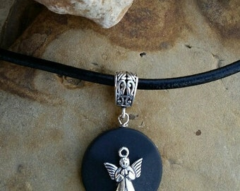 Inner Strength- Guardian Angel Onyx stone necklace