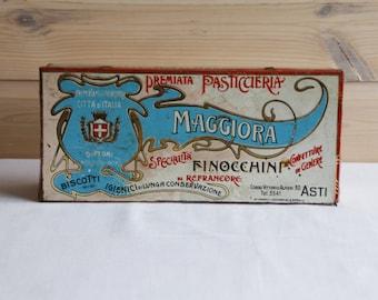 """Vintage tin """"Premiata Pasticcieria Maggiora Asti"""" / Italy 30's"""
