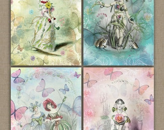 Fairies and Butterflies - Digital Collage Sheet Download | 4 different Designs
