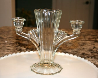 Art Deco Paneled Sided Vase With Candle Holders//EAPG Vase With Candle Holders//Vintage Vase With Candle Holders