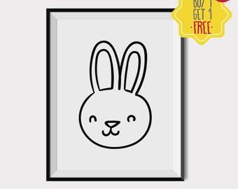 Bunny print,Baby room wall decor,Nursery wall art,Playroom art,Kids room wall art,Black and White art prints,Art for children,Kids Wall art