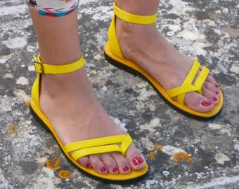 SALE *** 15%OFF / Yellow Lether Sandals, Gladiators Sandals, Womens shoes, strappy sandals made In Italy, leather sandals model Formentera