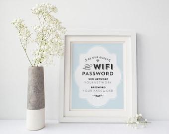 printable wifi password instant download aqua frame 8x10 and 5x7 - Wifi Photo Frame