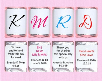 Monogram Nugget Candy Wrappers | Wedding | Bridal Shower | Favor Stickers | Candy Labels | Custom Colors