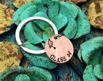CLEARANCE Class of 2016, Keychain, Lucky Penny Keychain, Hand Stamped Penny, Good Luck, Irish Tradition, 2016 Penny, Coin Keychain, Grad Cap