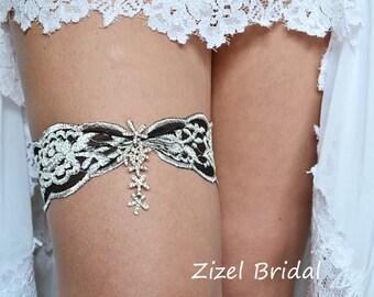 Black Garter Set Grey Garters Wedding Lace Garte Bridal Rhinestone