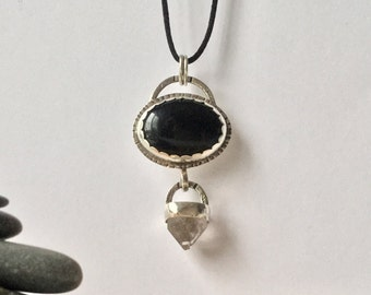 Sale!*** Black Onyx + crystal pendant, moody and dark statement piece!
