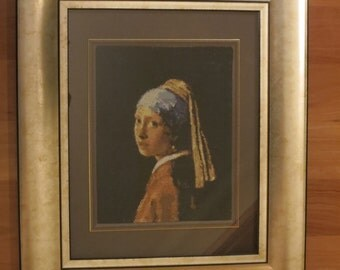 Cross Stitch Embroidery - Girl with a Pearl Earring (framed)
