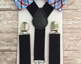Bowtie & Supender Set/ Light Blue Bowtie/ Argyle Bowtie/ Diamond Design Bowtie/ Blue Bowtie/ Red Bowtie/ Toddler Bowtie/ Black Suspenders