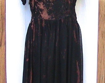 Hand Painted Hand Dyed Vintage Short Sleeve Dress
