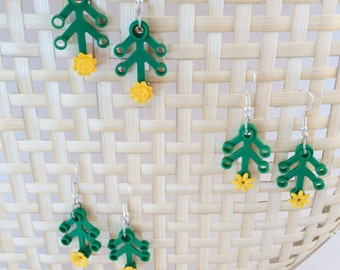 Lego Leaf and Yellow Flower Earrings