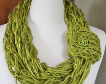 Chartreuse Arm Knit Scarf with Button Cuff
