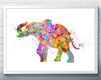 Elephant Watercolor Art Print - Elephant Watercolor Art Painting - Animal Poster - Home Decor - House Warming Gift [2]