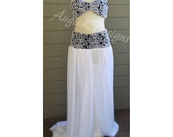 SALE!!!!CaliforniaWave Black/White Chiffon Maternity2in1Set/Dress/Gown/Pregnancy Photo shoot/BabyShower/Maternity Photo Dress