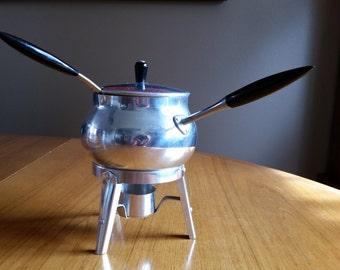 Italian Aluminum Puralum Warming or Fondue Pot- Four Pieces