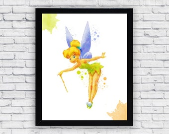 Tinkerbell Watercolor Print Tinkerbell Printable Wall Art Tinkerbell Wall Decor Tinkerbell Home Decor