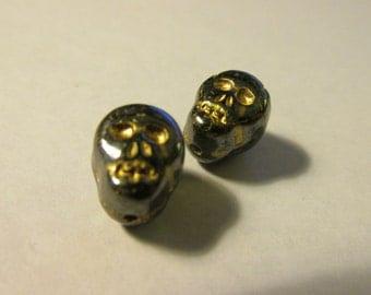 Czech Glass Skull Beads with Hematite Finish, 10mm, Set of 2