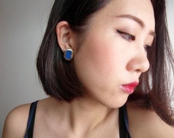 Blue Diamond Shape Gauge & Plug Earrings