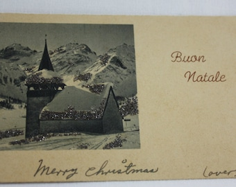 Christmas Postcard Italian Buon Natale Vintage Greetings From Military Private First Class Leo L. Hopkins US Soldiers 1940's