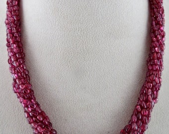 Amazing Fine 419Carats Natural Red SPINEL long BEADS Bunch Necklace In Silver Hook