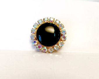 Vintage 60s shinny black brooch