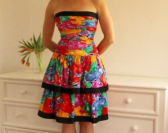 1980's Tiered Peplum Multicolored A.J. Bari Dress