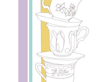 Art Print // Tea Time // Tea Cups // Assorted Sizes // Signed and Dated by the Artist // Yellow // Purple