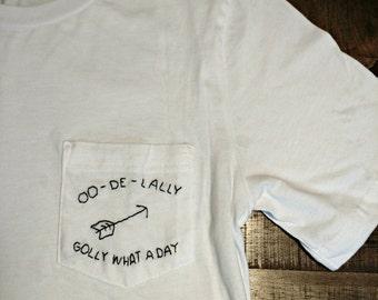 Oo-De-Lally Robin Hood Hand Embroidered Pocket Tee