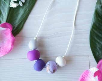 Azalea—Handmade necklace with beautiful purple polymer clay beads