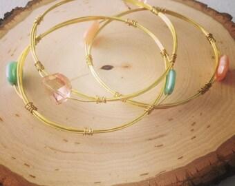 Beaded wire bangle bracelet set; Bangle bracelet; Gold wire bangle bracelet