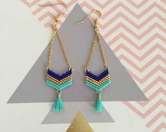 Earrings woven with Miyuki delicate - turquoise beads, blue, gold / weawing, handmade Earrings